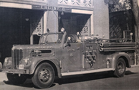 Portland's Old Engine 8 Firehouse 1953 with Booster, the firedog mascott.